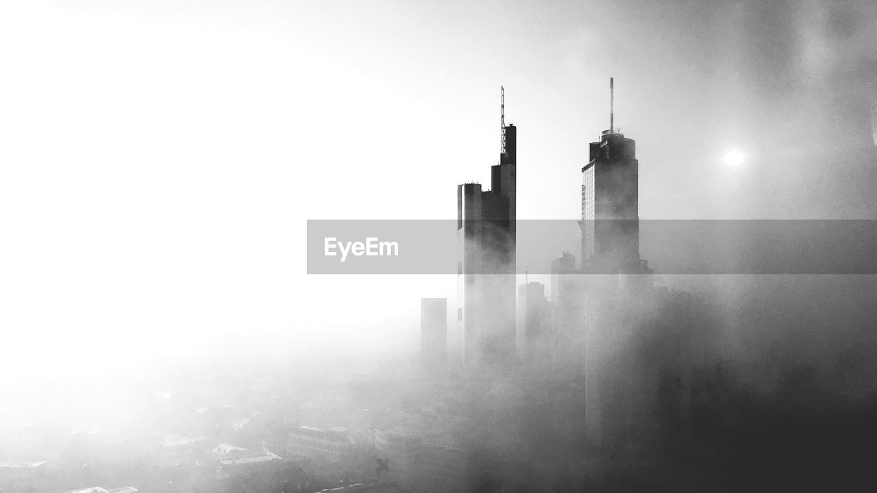fog, outdoors, no people, day, nature, architecture, factory, sky