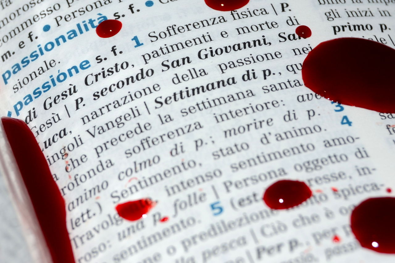 Close-Up Of Blood On Dictionary