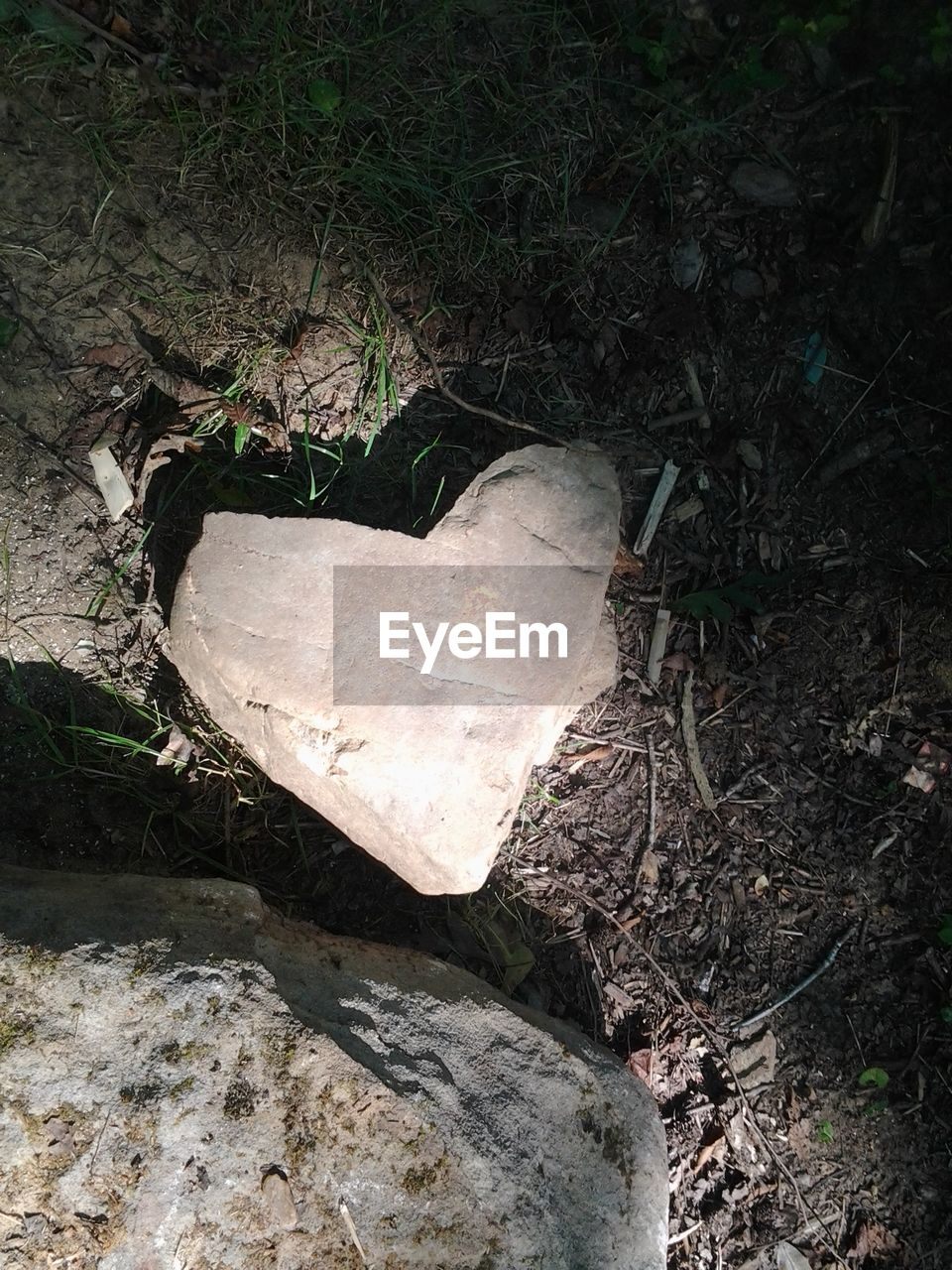 High angle view of heart shape rock on ground