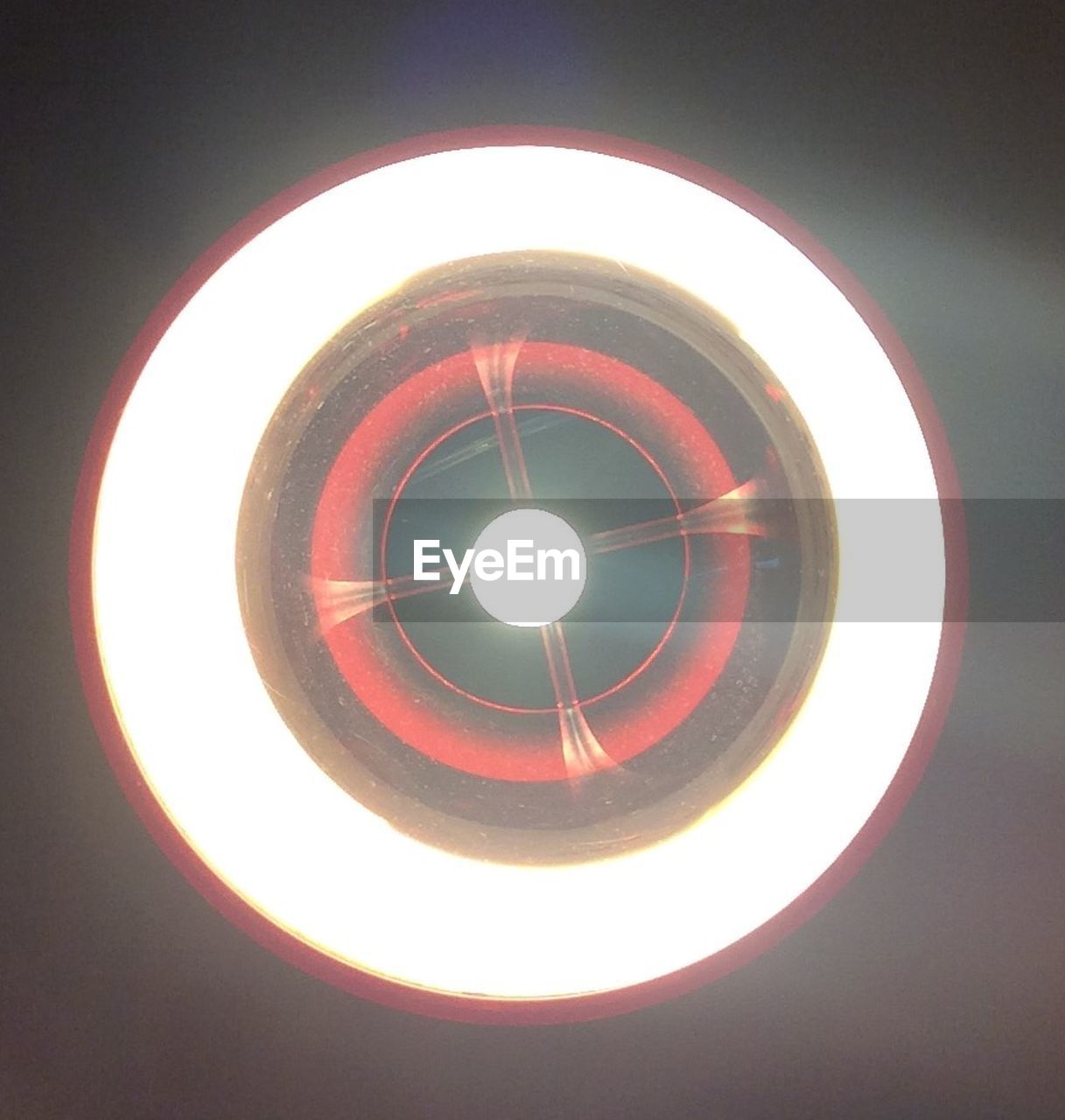 illuminated, circle, lighting equipment, electricity, glowing, no people, indoors, ceiling, low angle view, light bulb, close-up