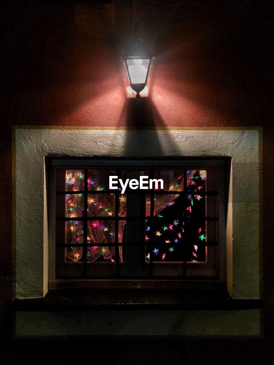 illuminated, indoors, no people, night, hanging, close-up