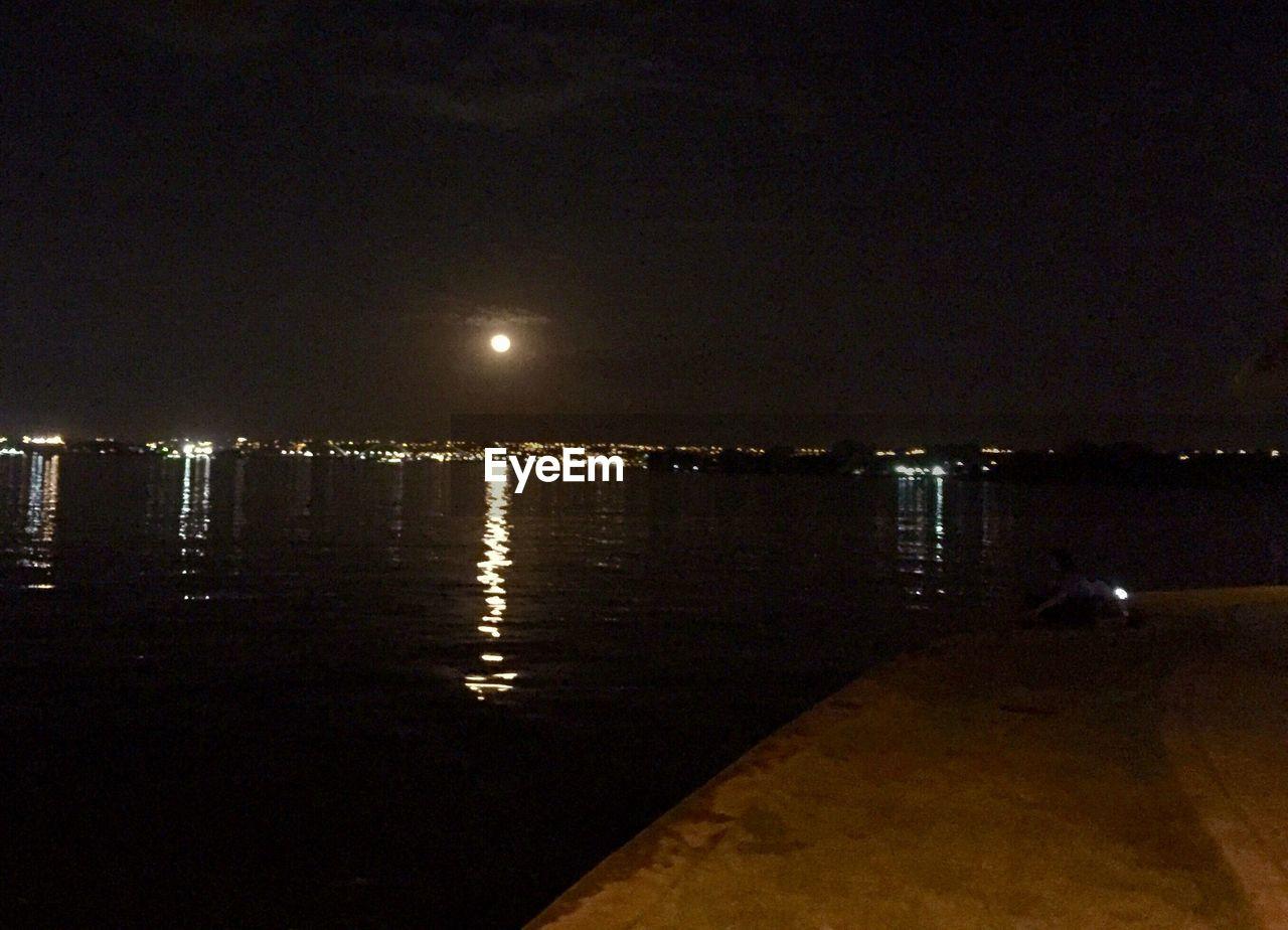 night, illuminated, water, sea, moon, no people, nature, outdoors, city, sky