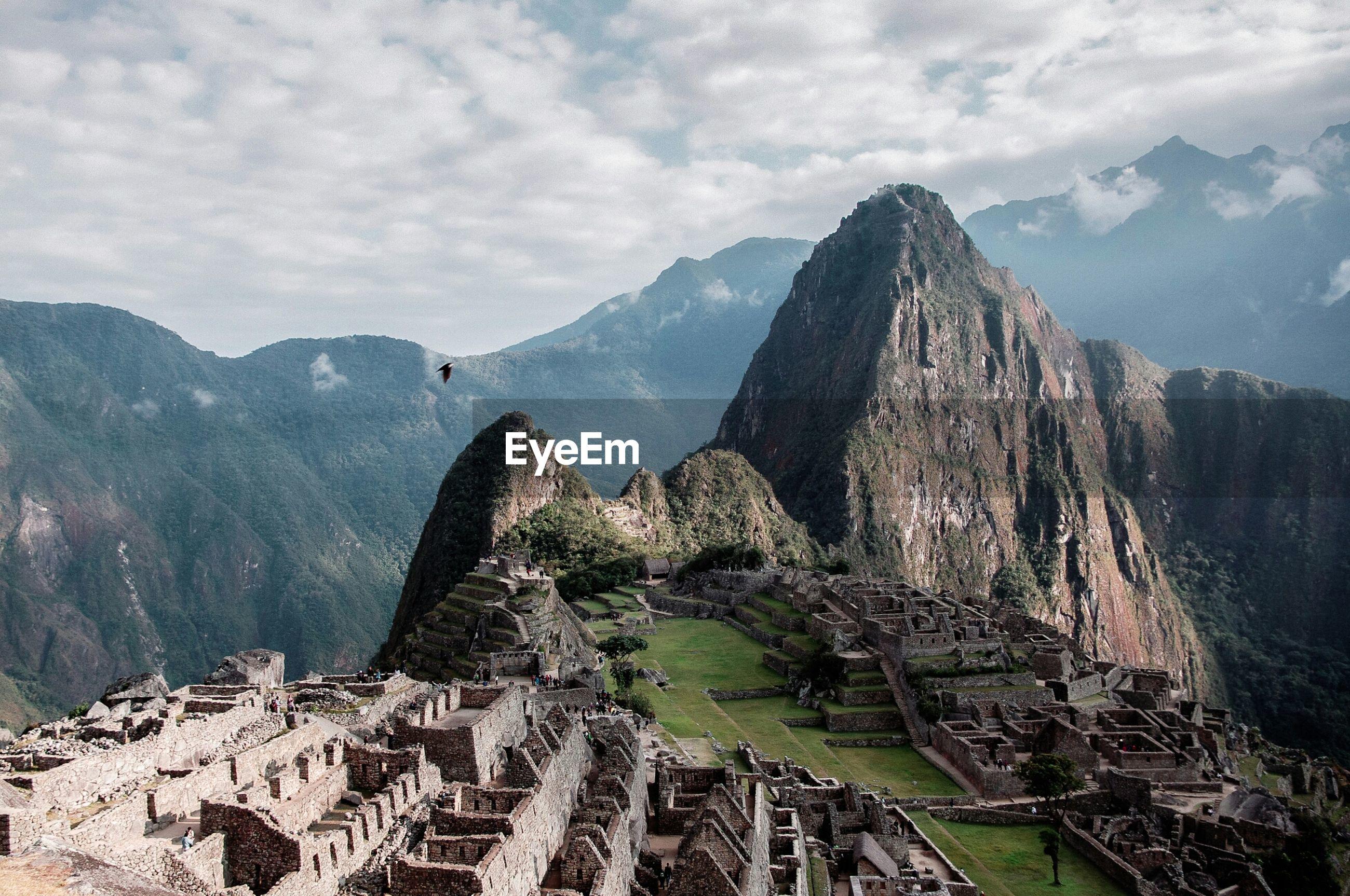 High angle view of machu picchu at peru