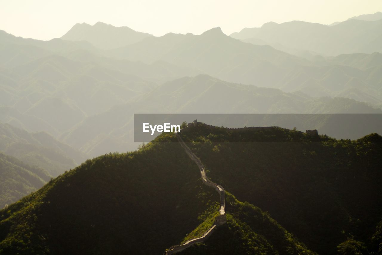 Great Wall Of China On Mountain Against Sky