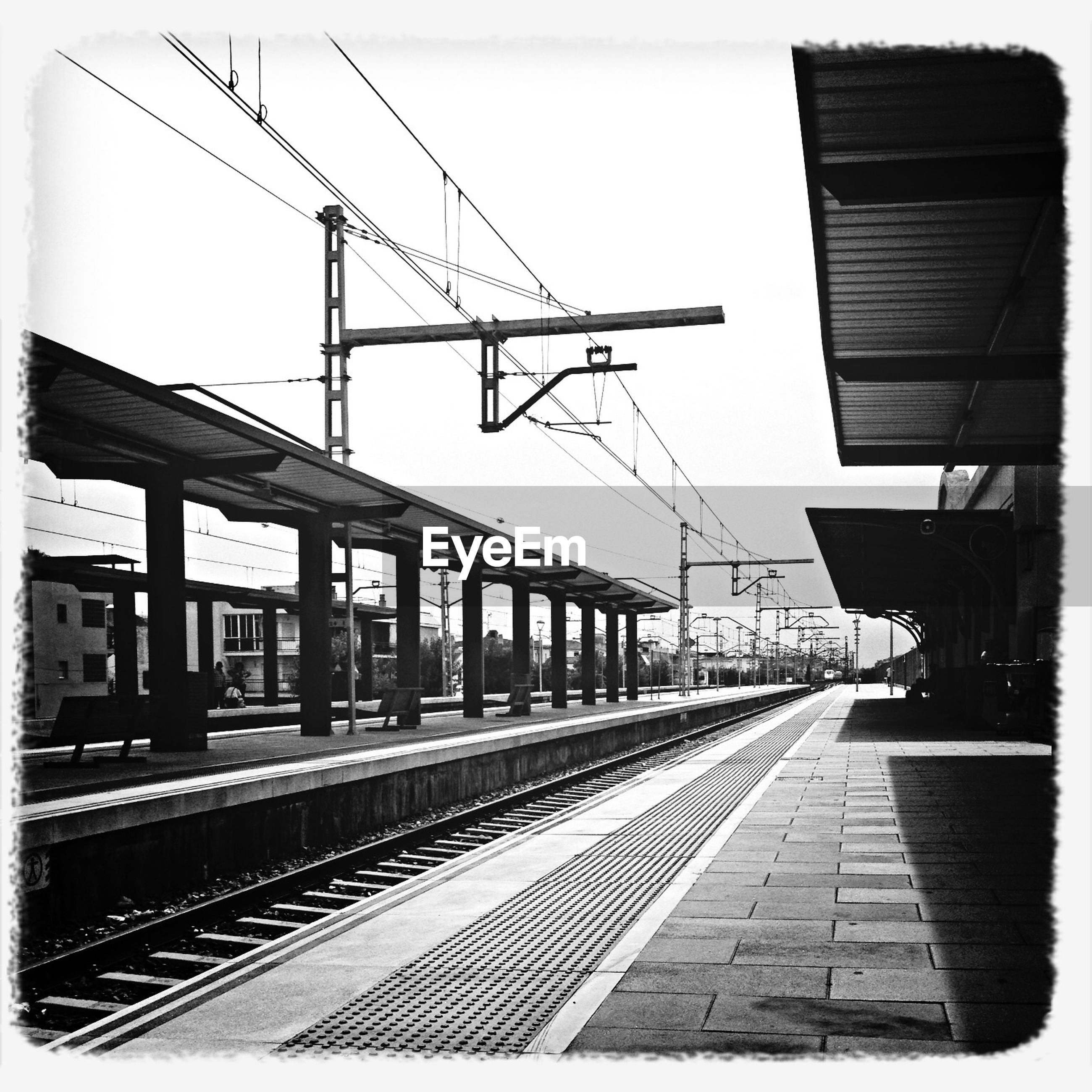 View along railway station platform