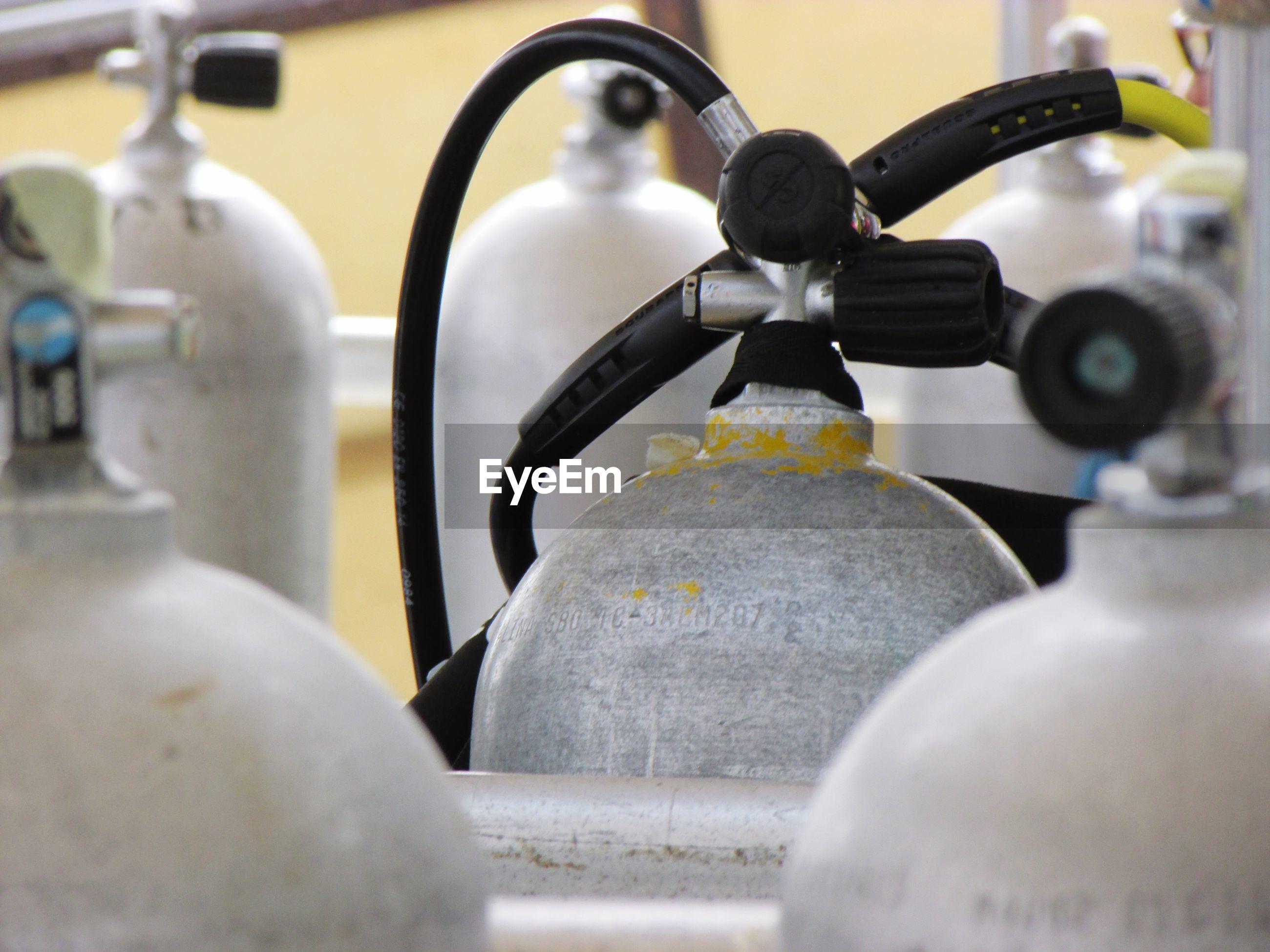 Close-up of aqualungs