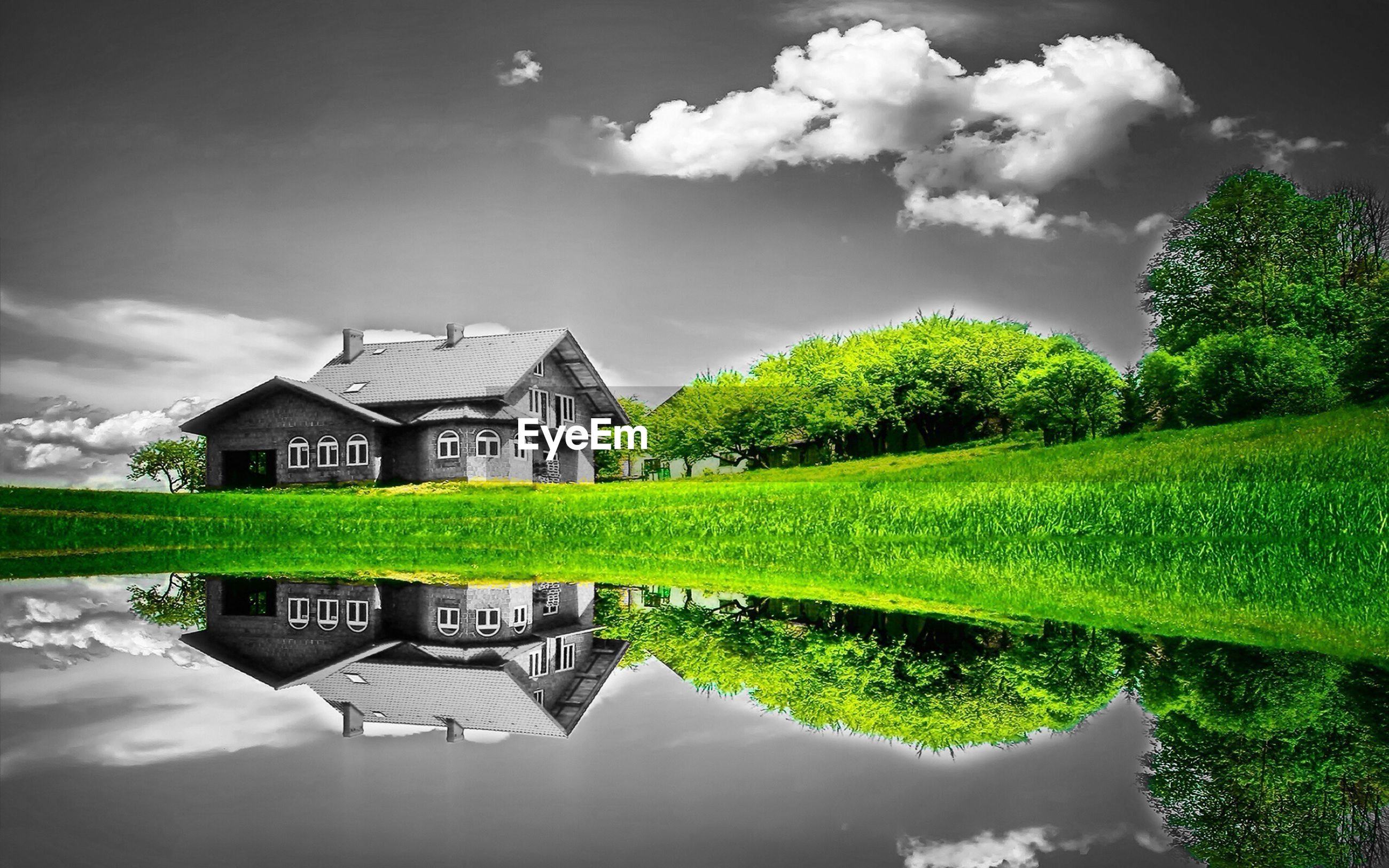 architecture, built structure, building exterior, sky, cloud - sky, water, reflection, green color, tree, house, cloud, cloudy, nature, grass, pond, day, outdoors, growth, no people, beauty in nature