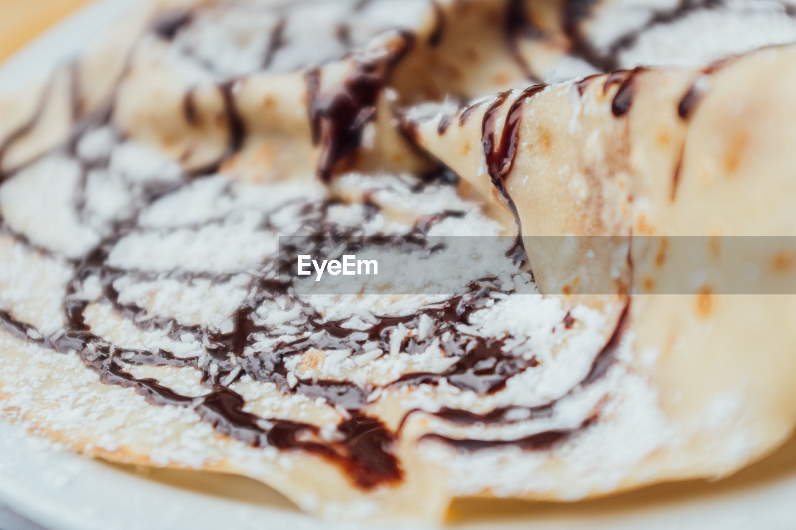 Extreme close up of crepes
