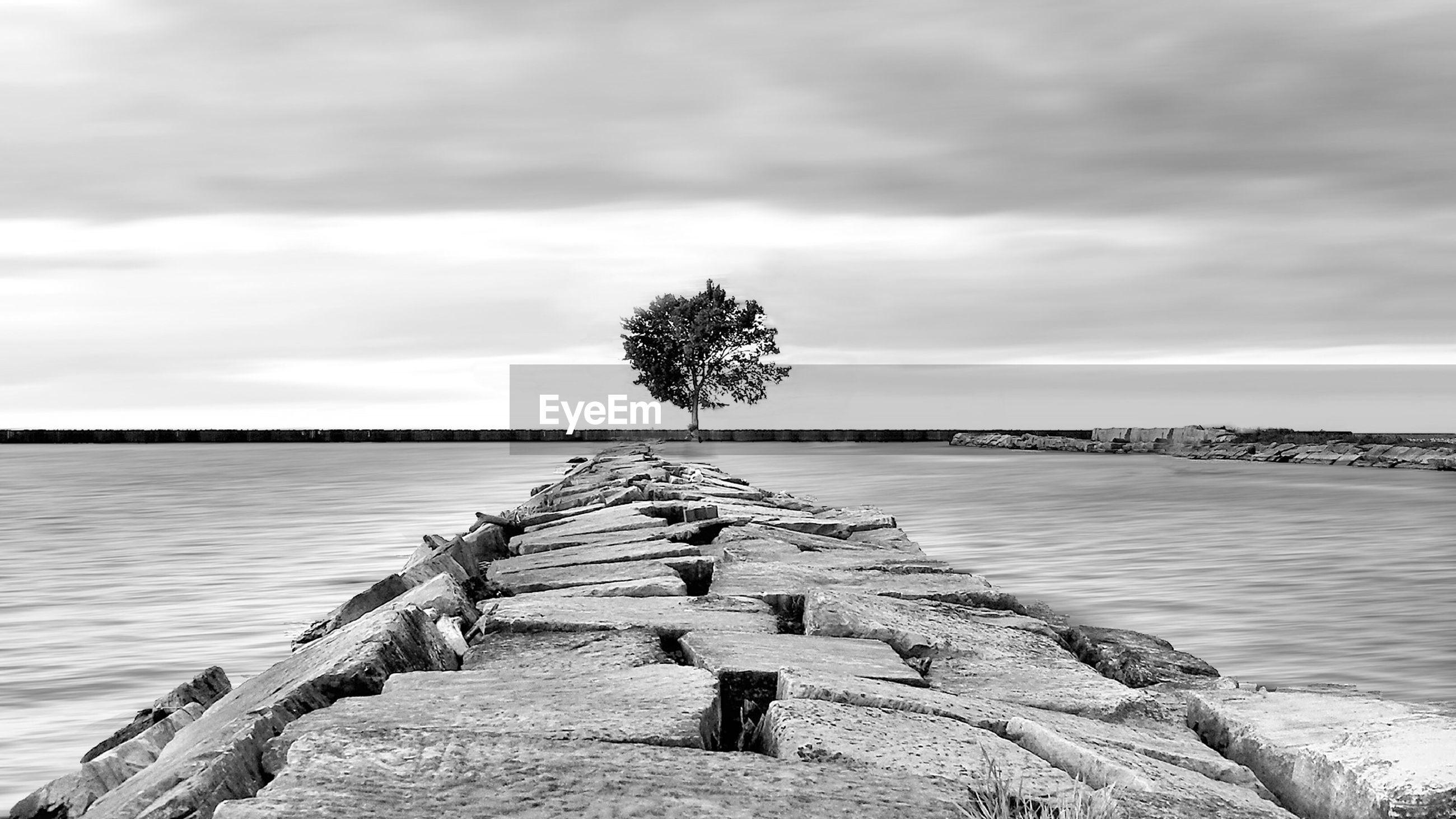 Rock jetty on shore