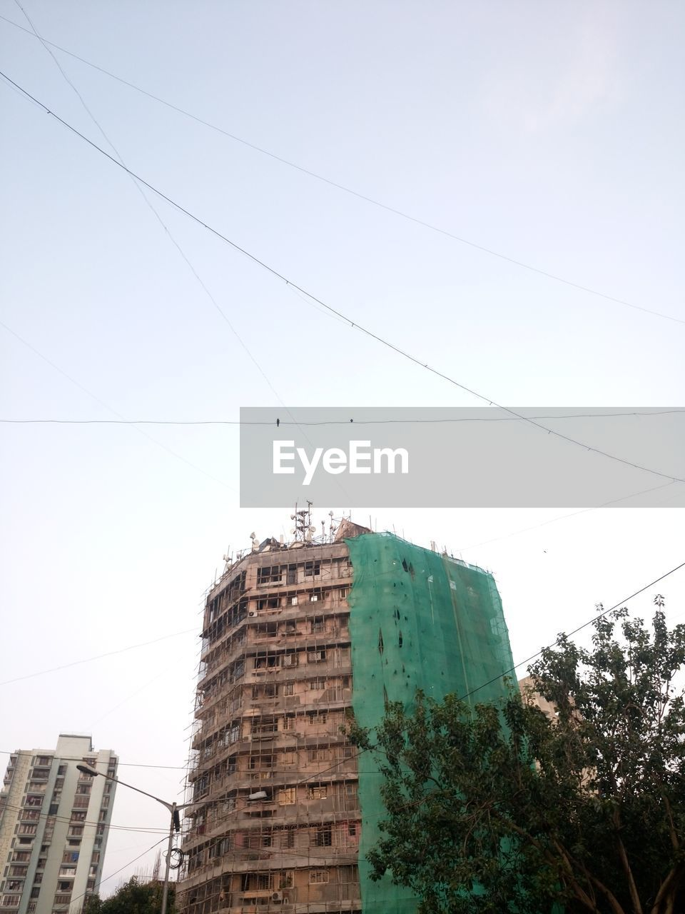 building exterior, architecture, built structure, low angle view, day, outdoors, cable, no people, clear sky, sky, tree, skyscraper, city, nature