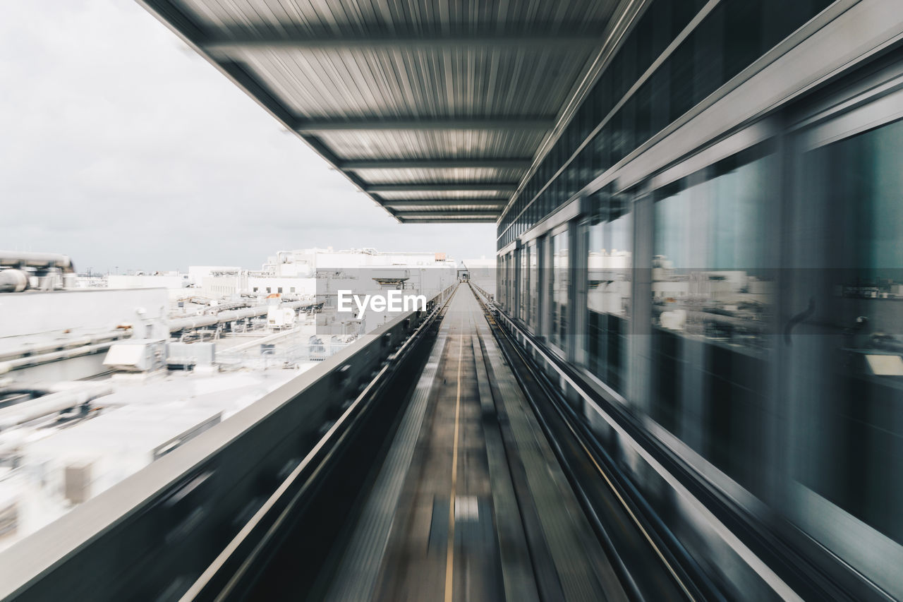 Blurred motion of railroad tracks in airport