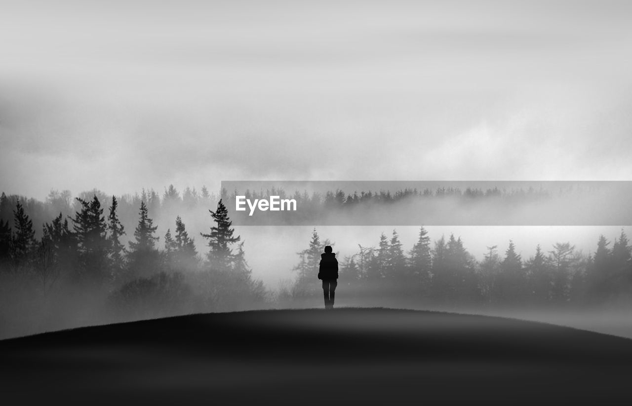 Silhouette Man Standing On Field Against Forest During Foggy Weather