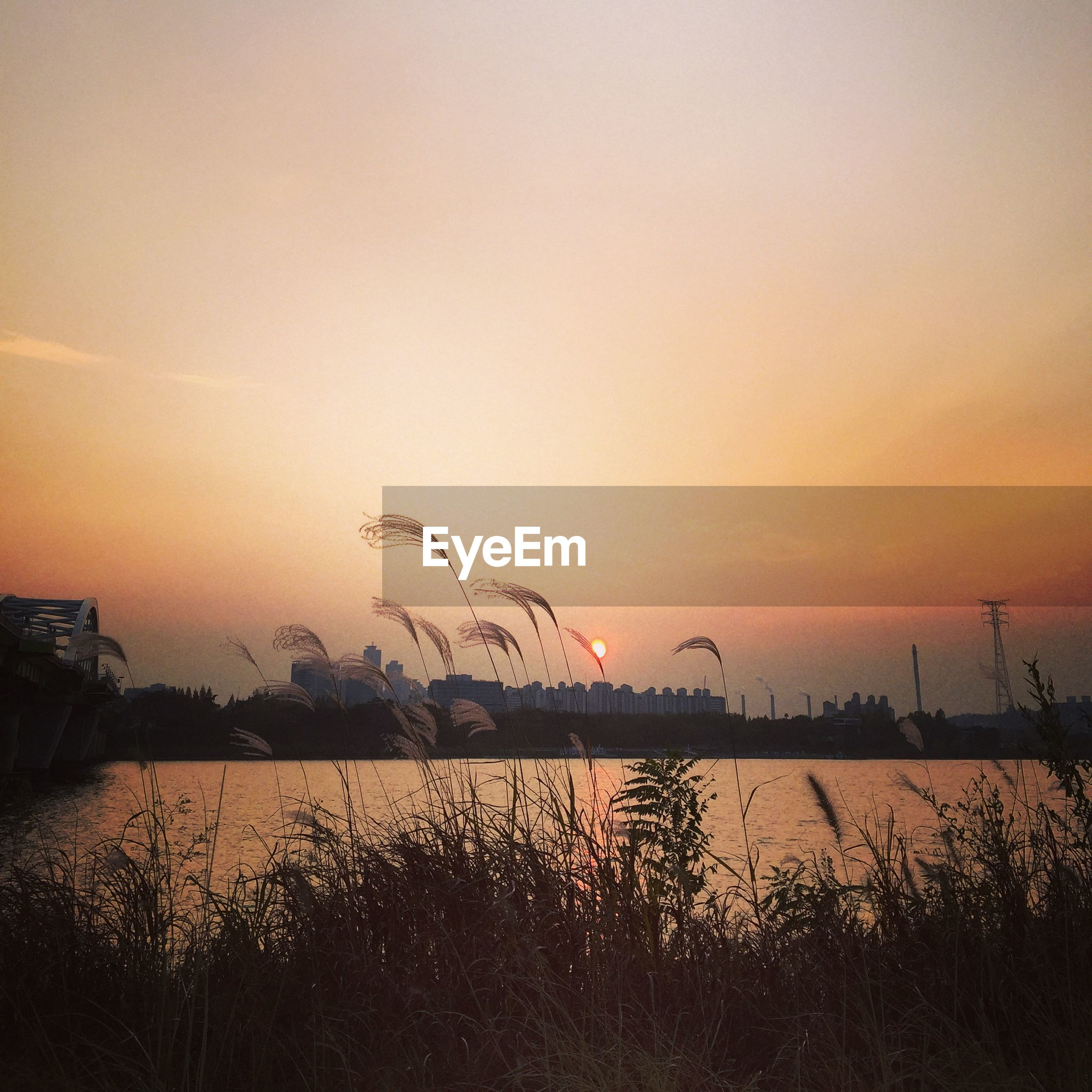 Scenic view of han river during sunset