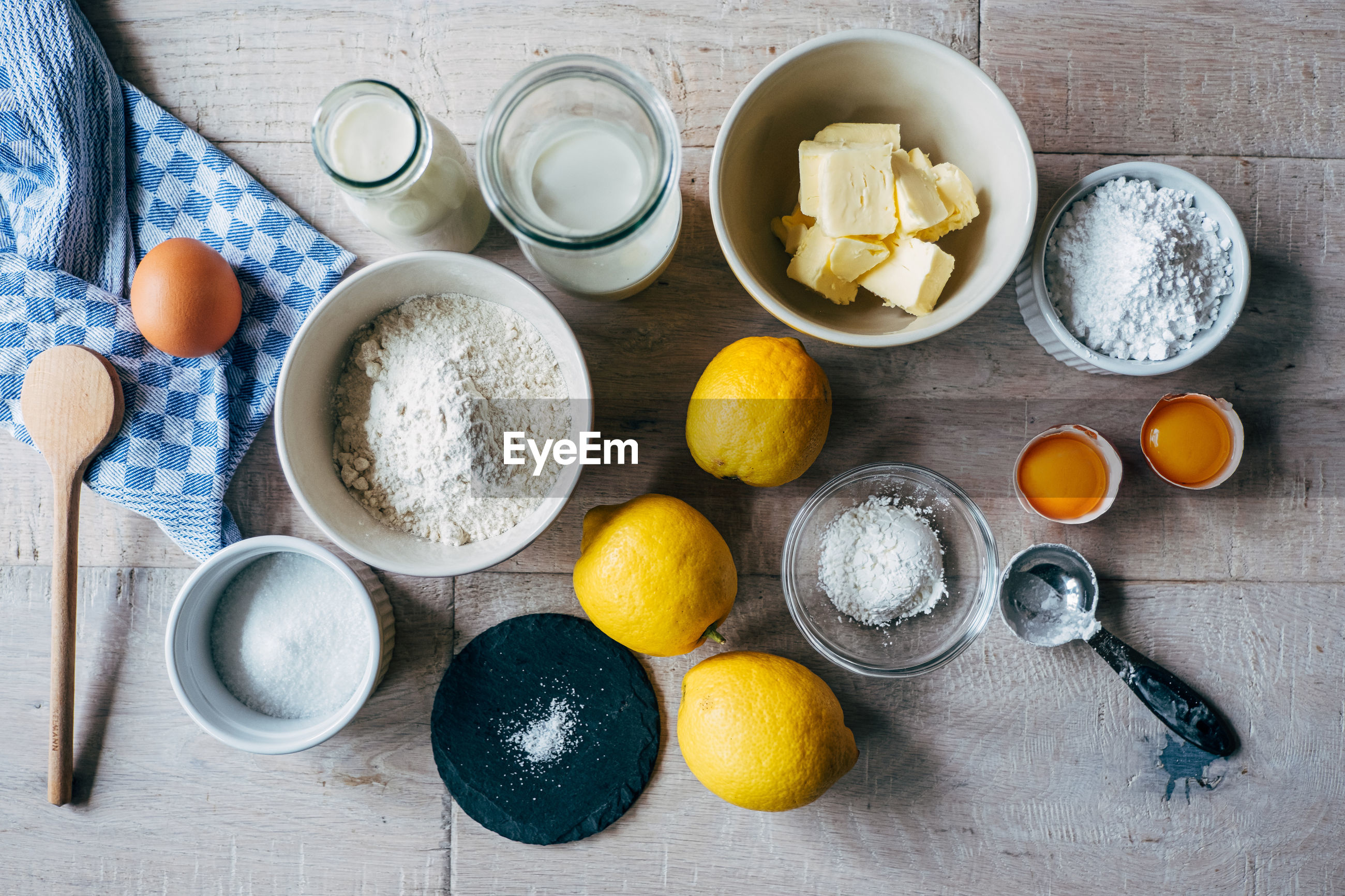 High angle view of baking ingredients  on table