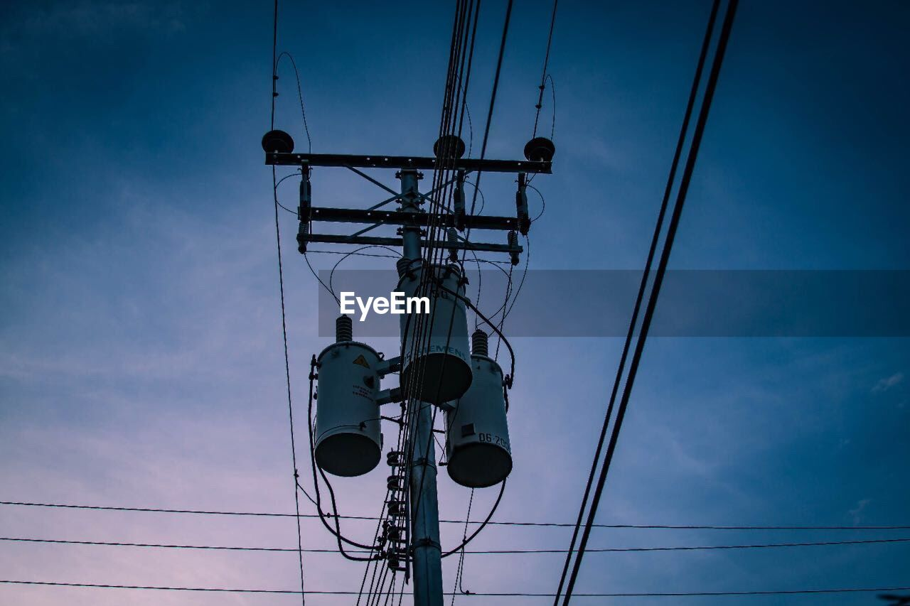 cable, connection, power supply, power line, low angle view, electricity, technology, fuel and power generation, sky, silhouette, cloud - sky, electricity pylon, no people, day, outdoors, telephone line, nature