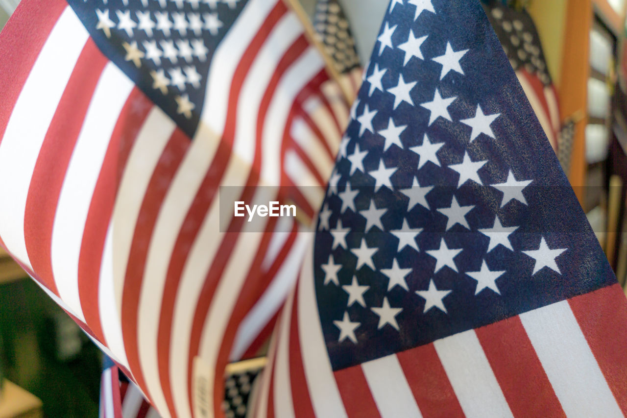 Close-up of american flags