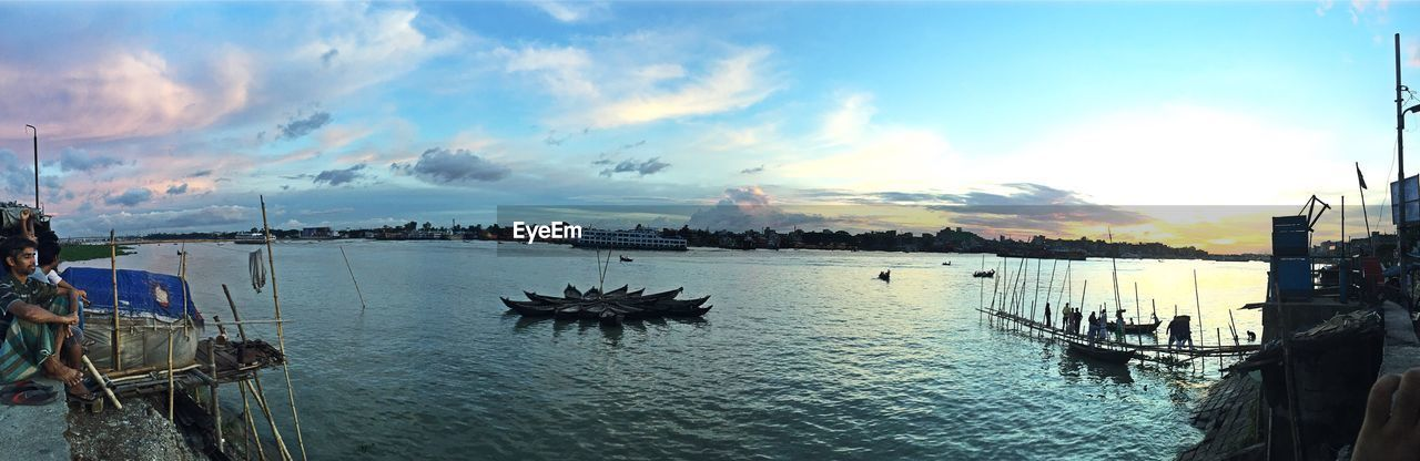 nautical vessel, water, sky, boat, cloud - sky, scenics, sea, beauty in nature, nature, transportation, tranquil scene, outdoors, tranquility, mode of transport, moored, sunset, waterfront, travel destinations, no people, harbor, panoramic, day