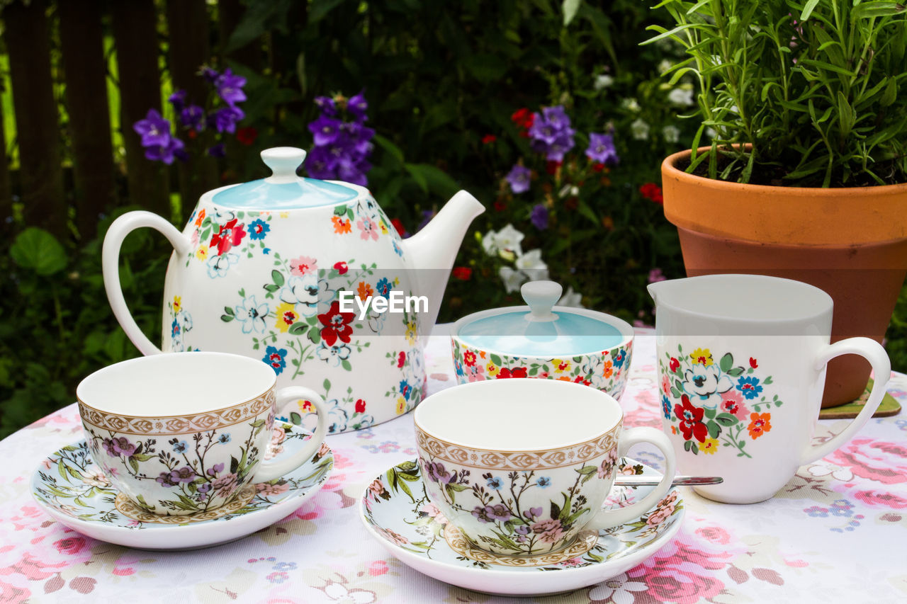 drink, crockery, cup, teapot, saucer, refreshment, tea cup, mug, food and drink, tea, table, tea - hot drink, hot drink, floral pattern, no people, ceramics, pattern, day, plant, still life, non-alcoholic beverage