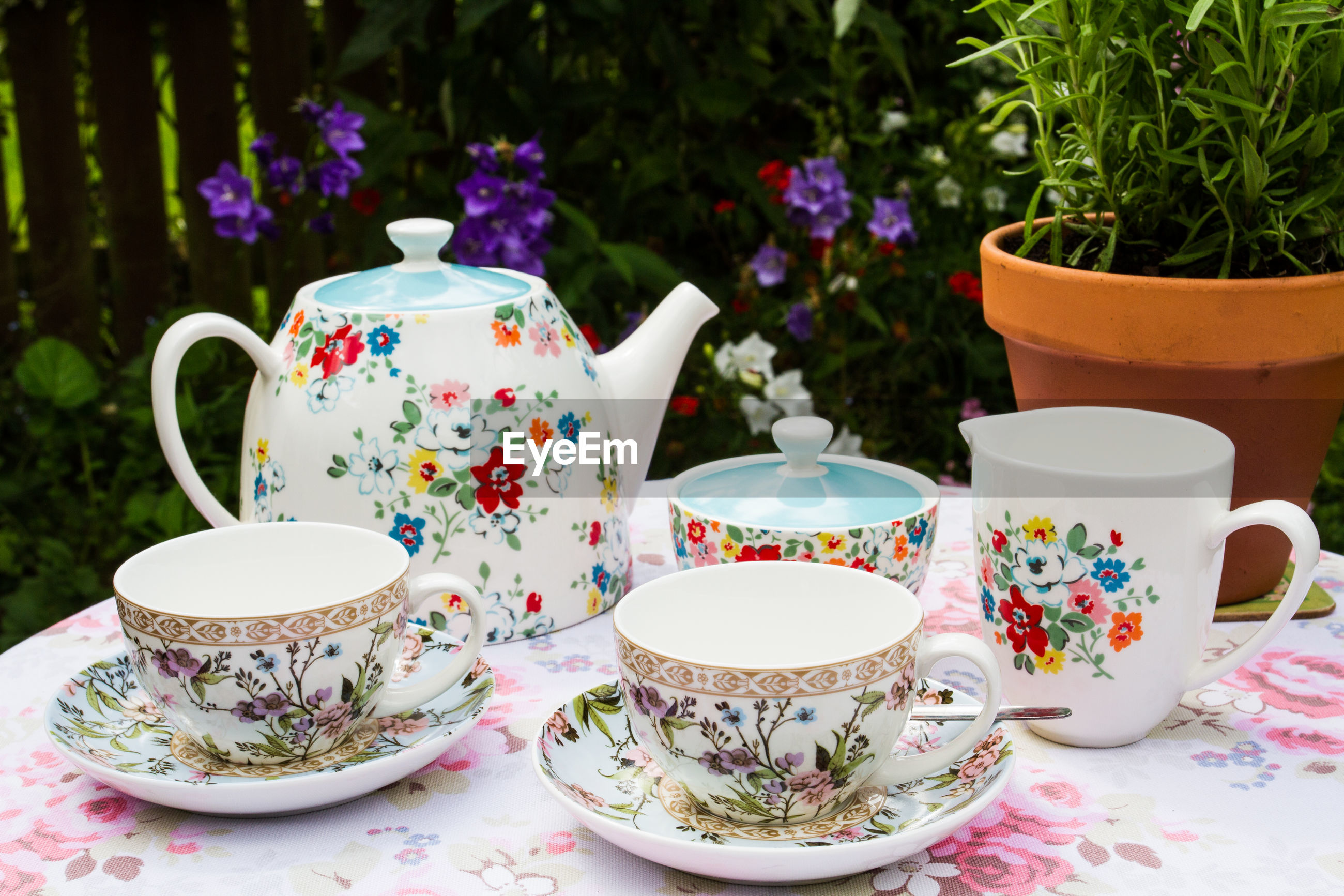 Close-up of crockery by potted plant on table