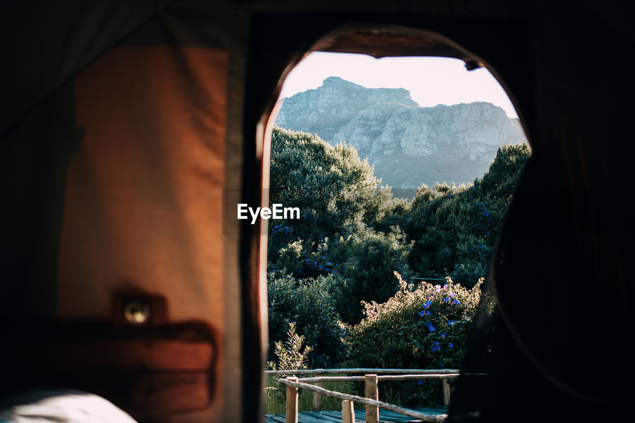 Mountain And Trees Seen Through Tent