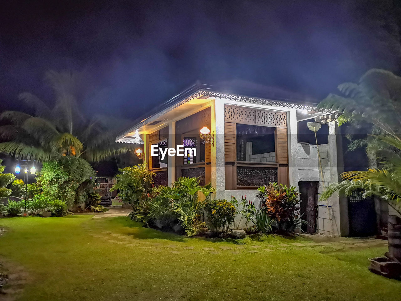 architecture, built structure, building exterior, plant, night, illuminated, grass, nature, building, house, no people, tree, outdoors, entrance, green color, residential district, cloud - sky, window, lighting equipment, growth