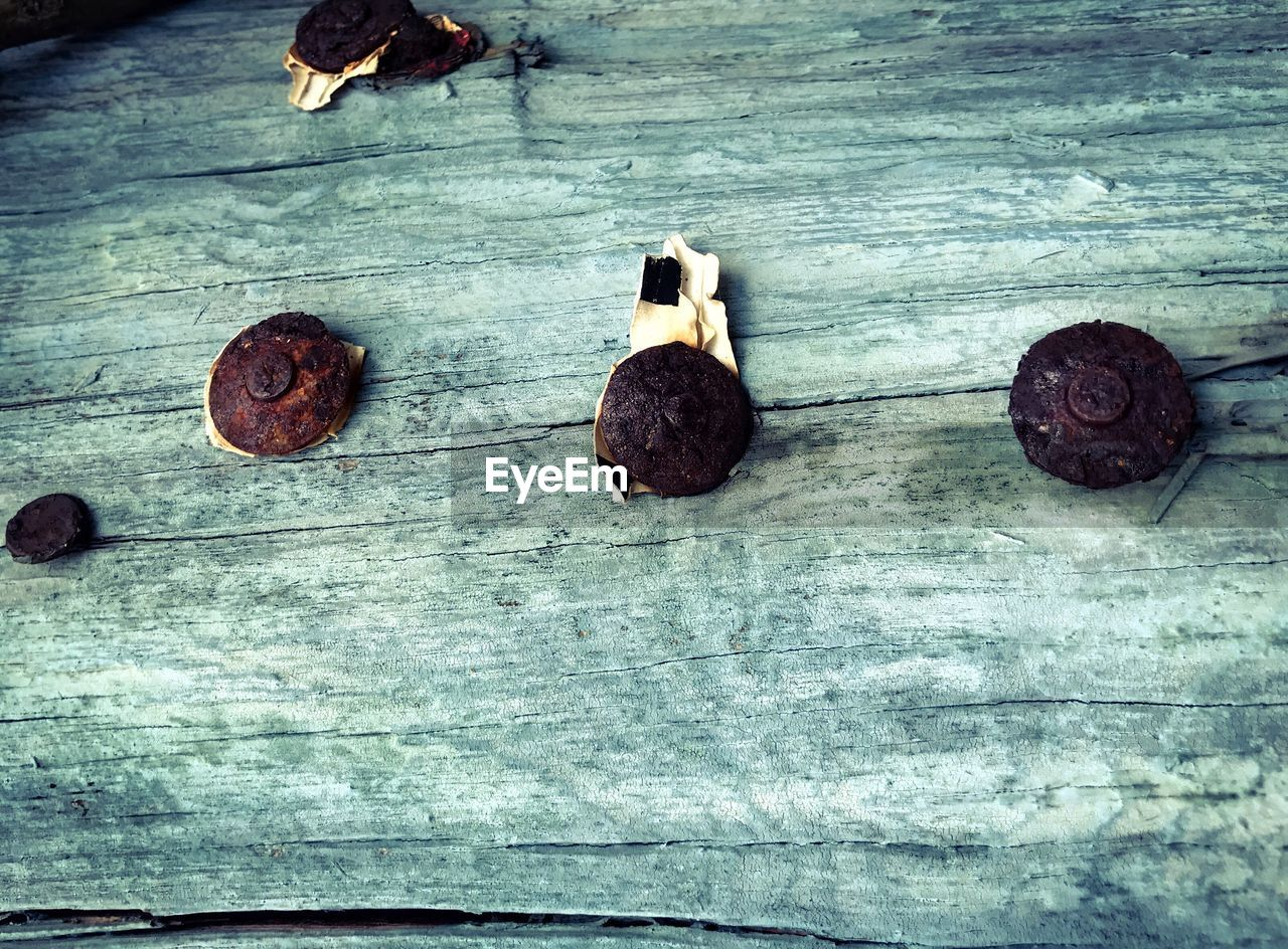 High angle view of sweet food on wooden table