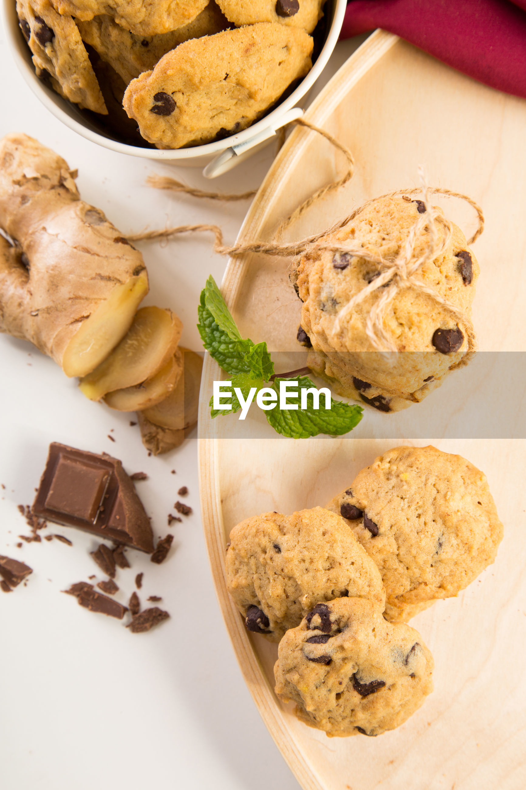 Overhead view of ginger chocolate chip cookies
