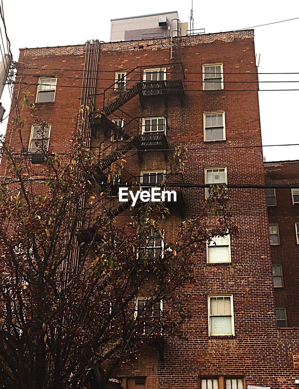 architecture, building exterior, fire escape, built structure, emergencies and disasters, low angle view, window, no people, residential building, outdoors, urgency, day, city, tree, sky