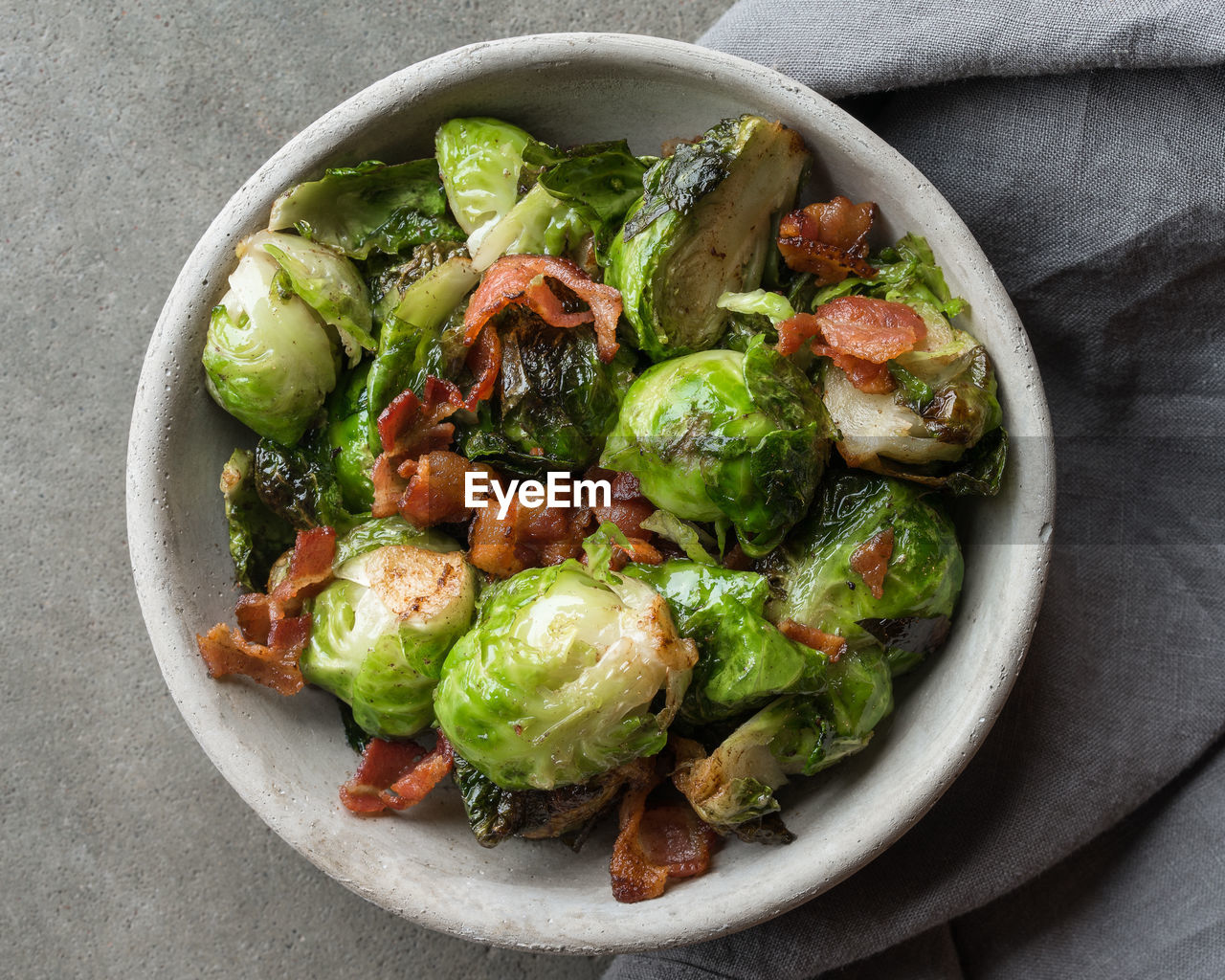 Directly above shot of brussels sprout in bowl on table