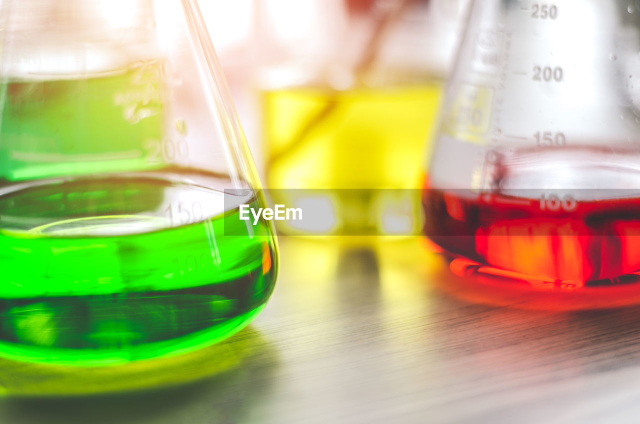 Close-Up Of Chemicals In Beaker On Table