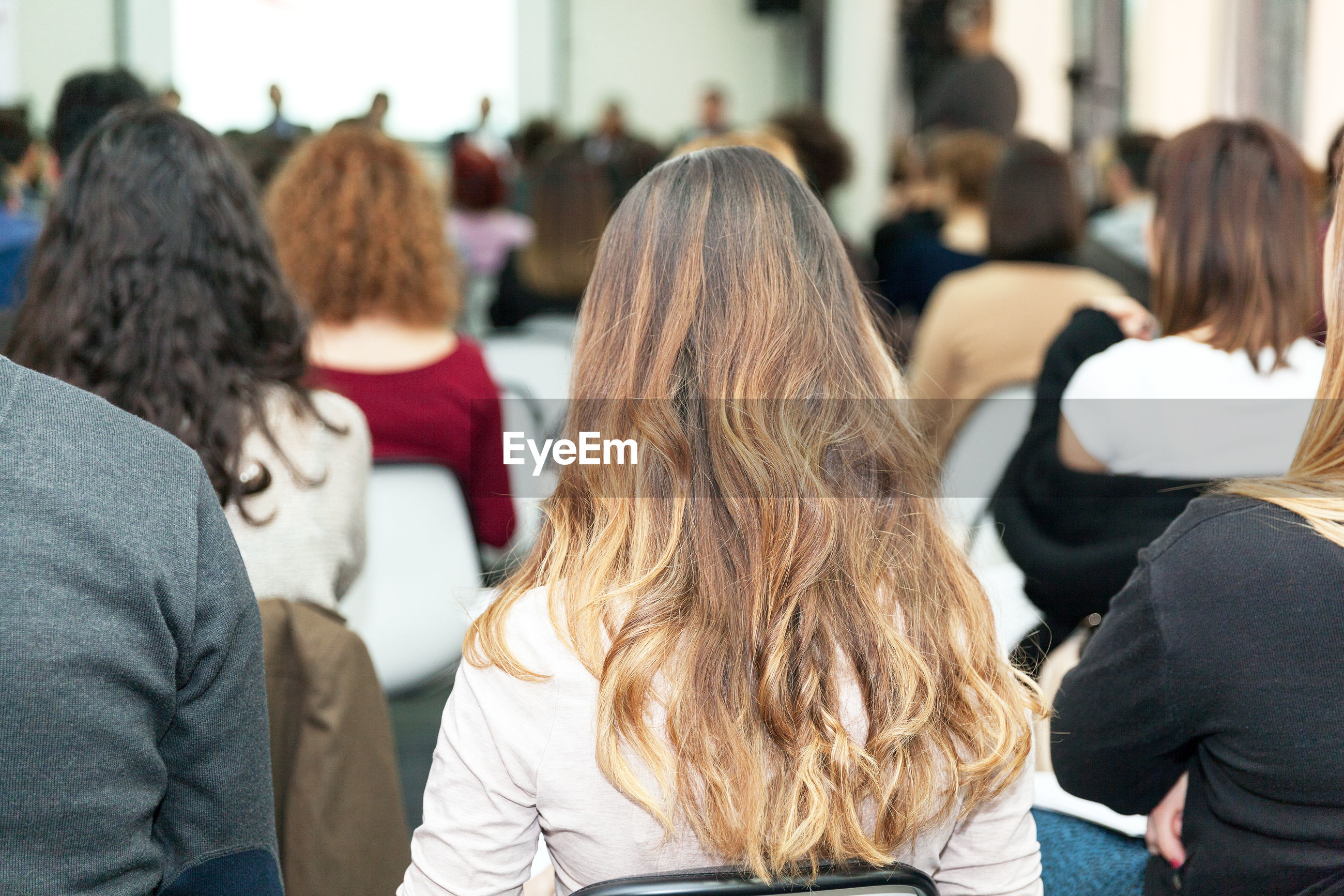 Rear view of business people attending seminar