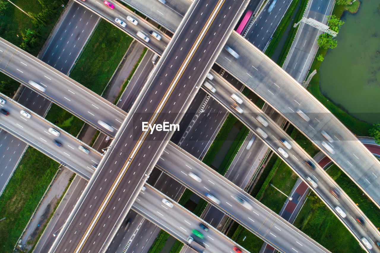 Aerial View Of Vehicles On Bridges In City
