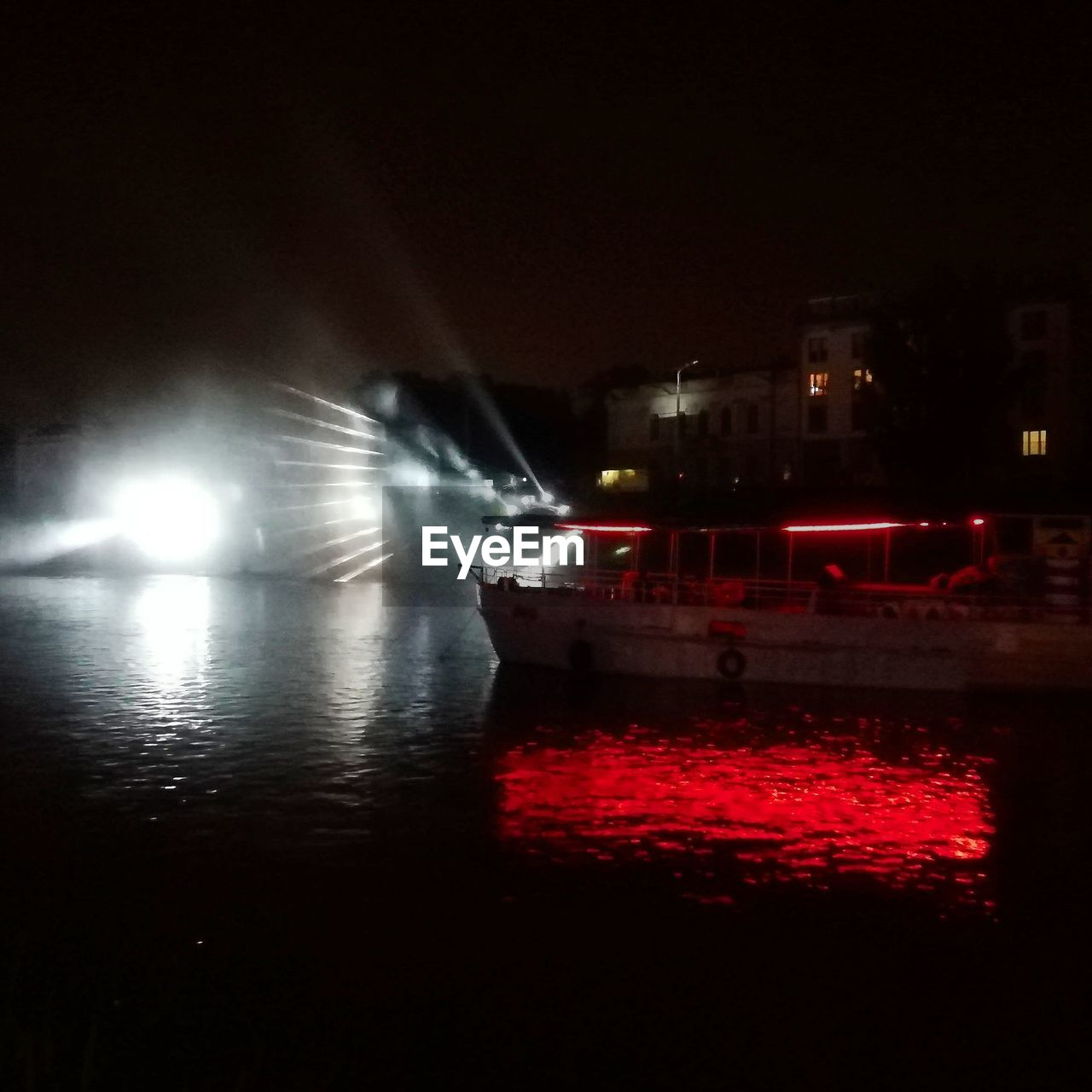night, illuminated, water, transportation, architecture, mode of transportation, no people, red, motion, reflection, building exterior, nautical vessel, built structure, city, nature, street light, waterfront, lighting equipment, sky
