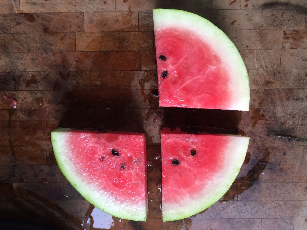 Directly above shot of watermelons slices on cutting board