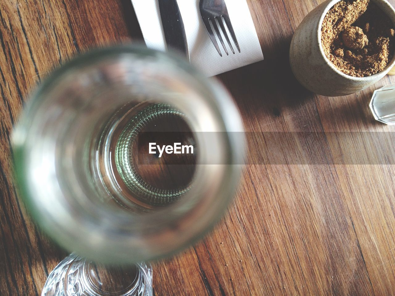 table, indoors, wood - material, no people, food and drink, high angle view, directly above, close-up, drink, day