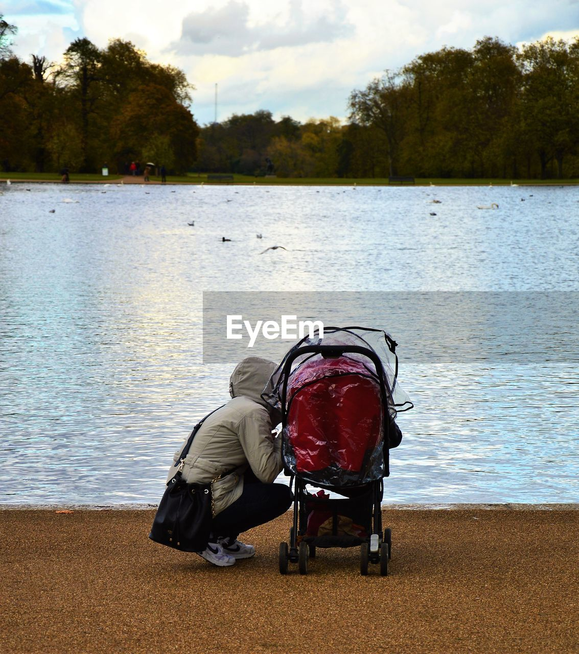 Woman With Baby Carriage In The Park