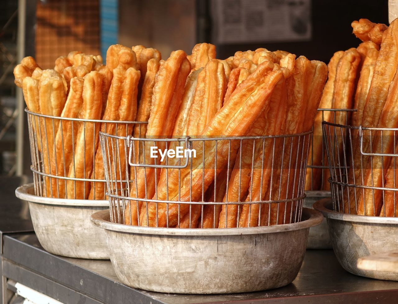 Fried Food For Sale At Market Stall