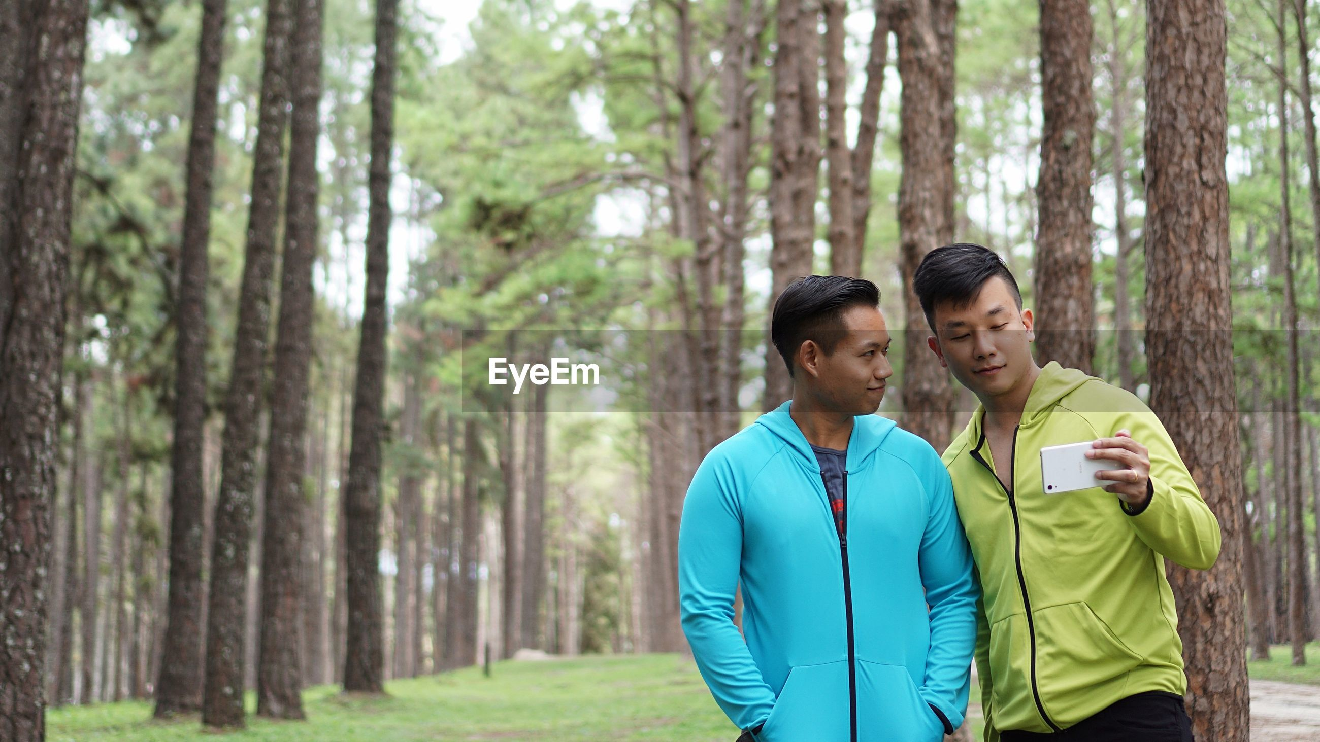 Male friends taking selfie while standing in forest