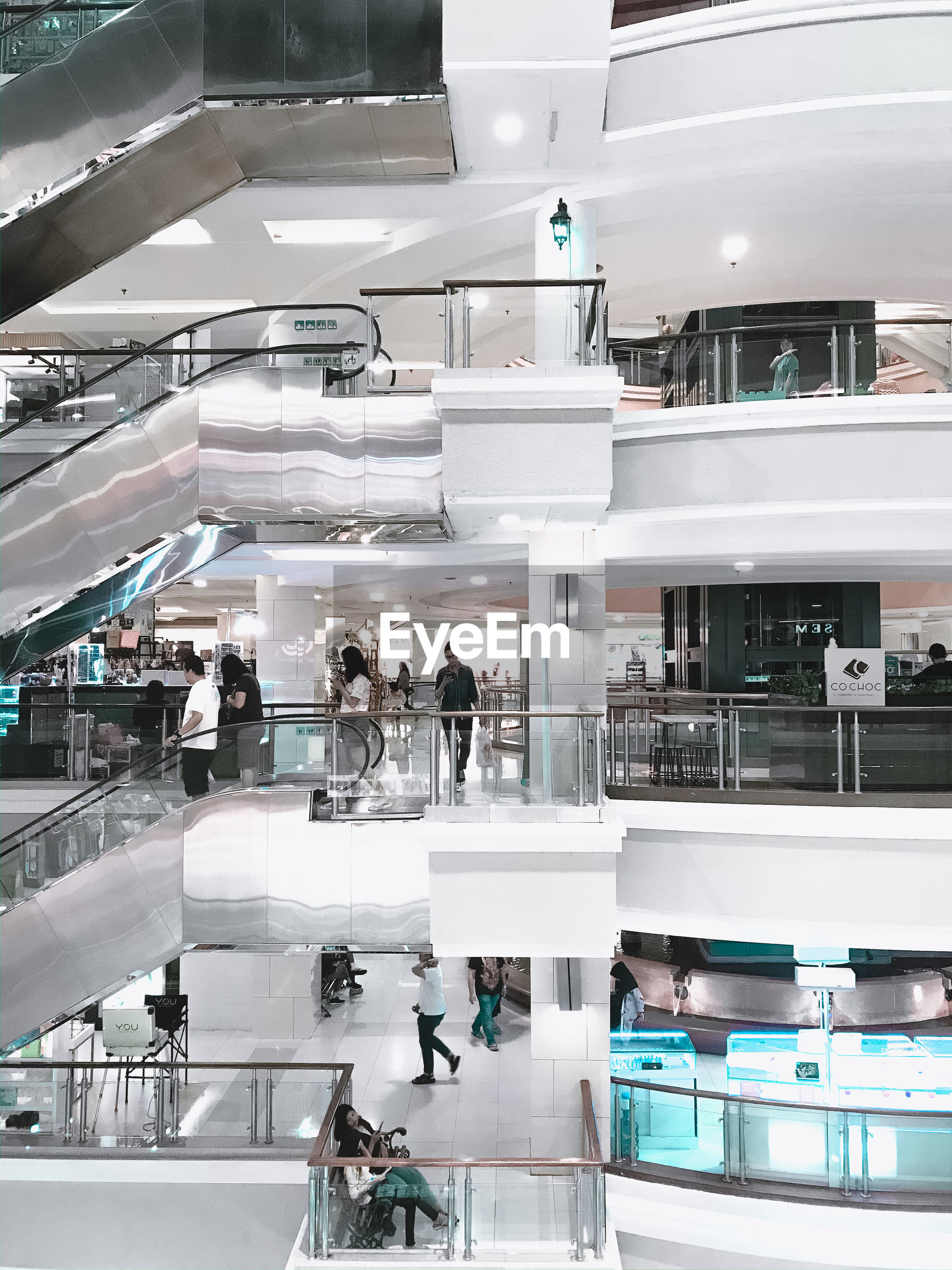 HIGH ANGLE VIEW OF PEOPLE AT MALL