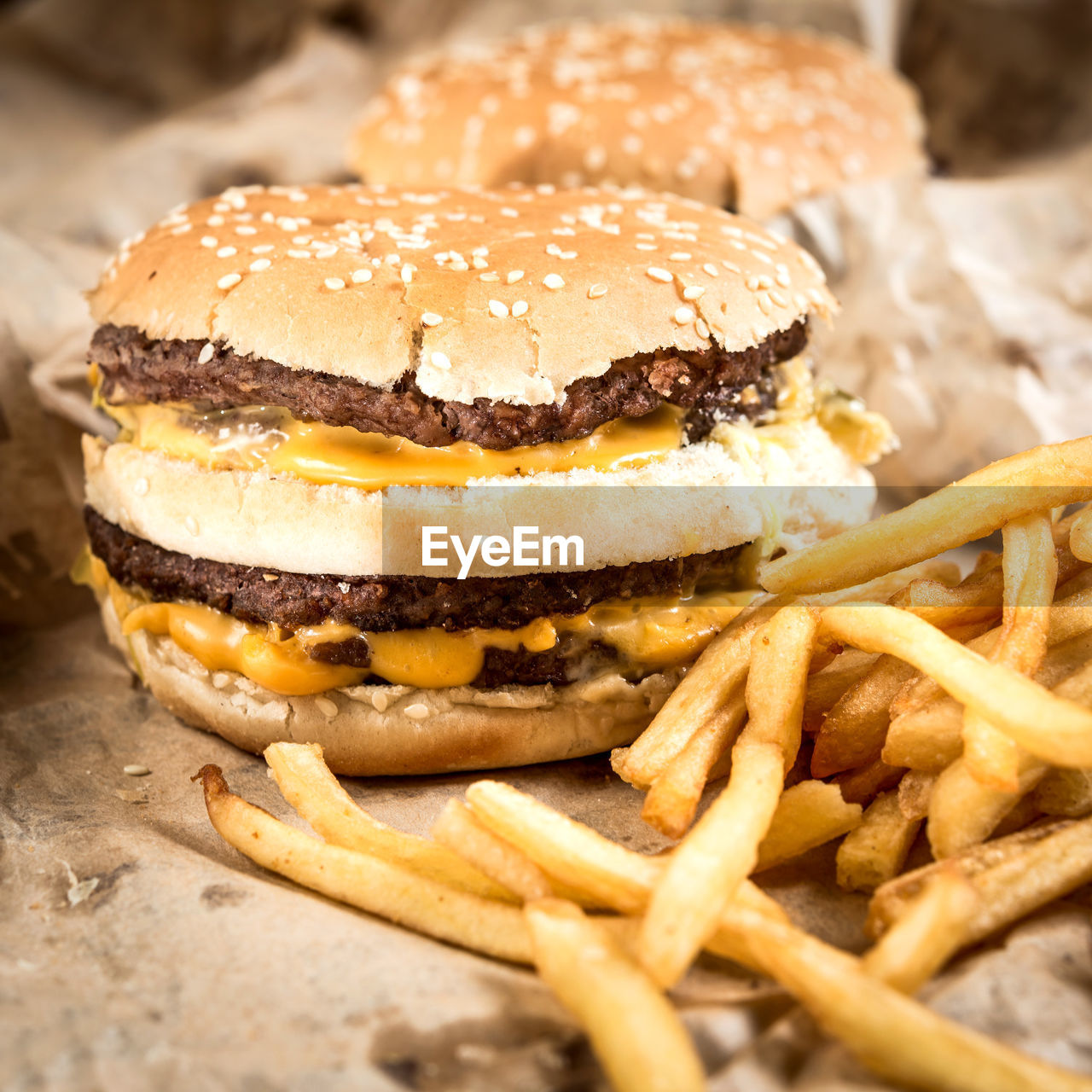 Close-Up Of Burgers And French Fries
