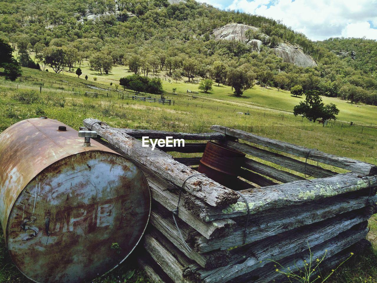 barrel, field, day, no people, landscape, nature, tree, outdoors, wine cask, beauty in nature, scenics, sky