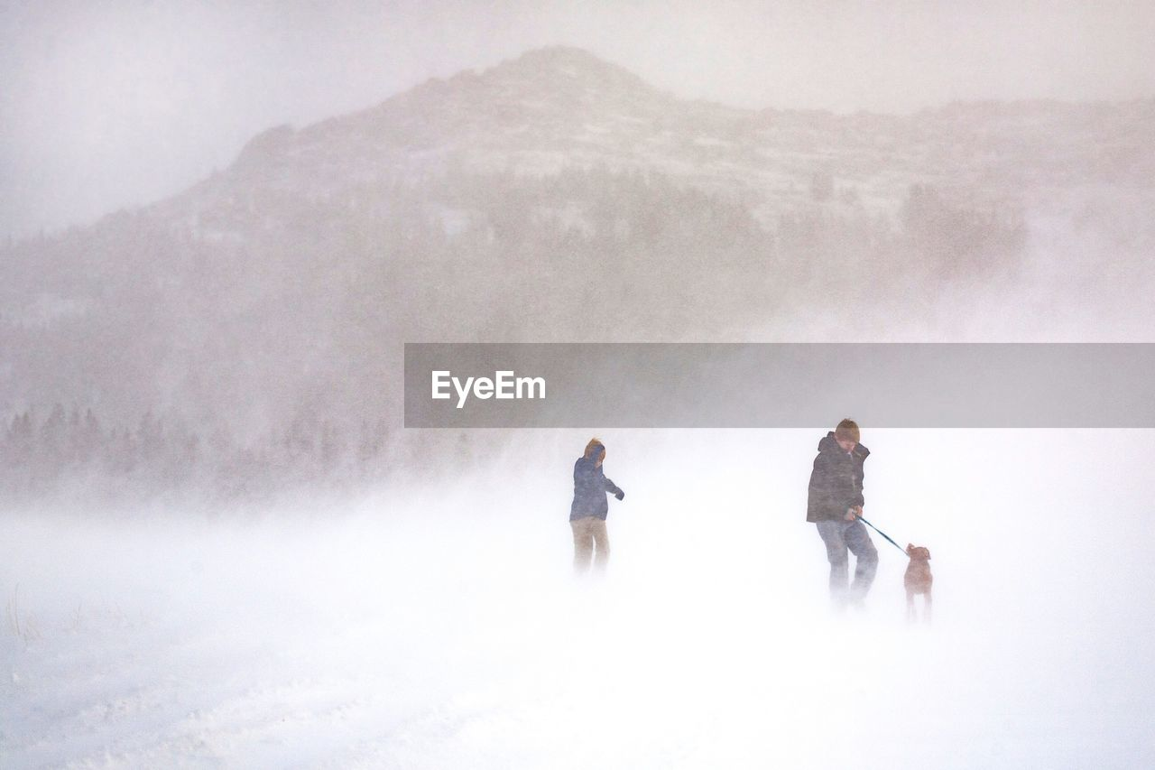 People With Dog On Snow Field Against Mountain During Extreme Foggy Weather