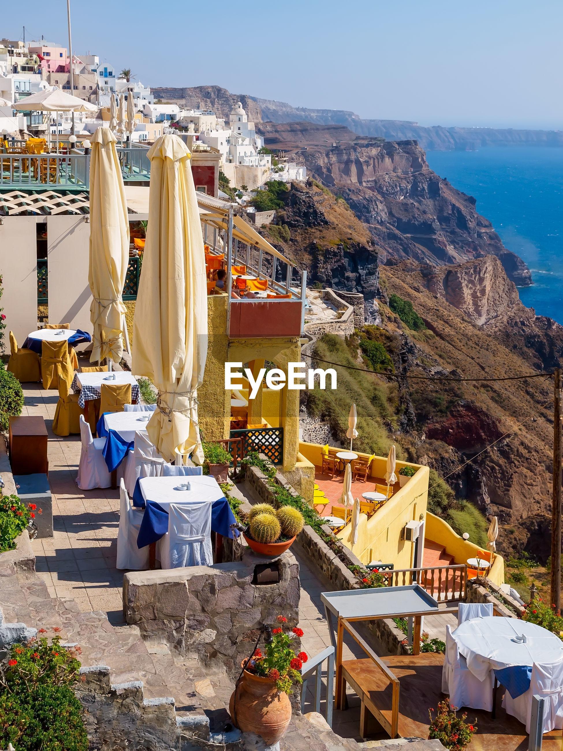 High angle view of empty cafe on santorini island, greece