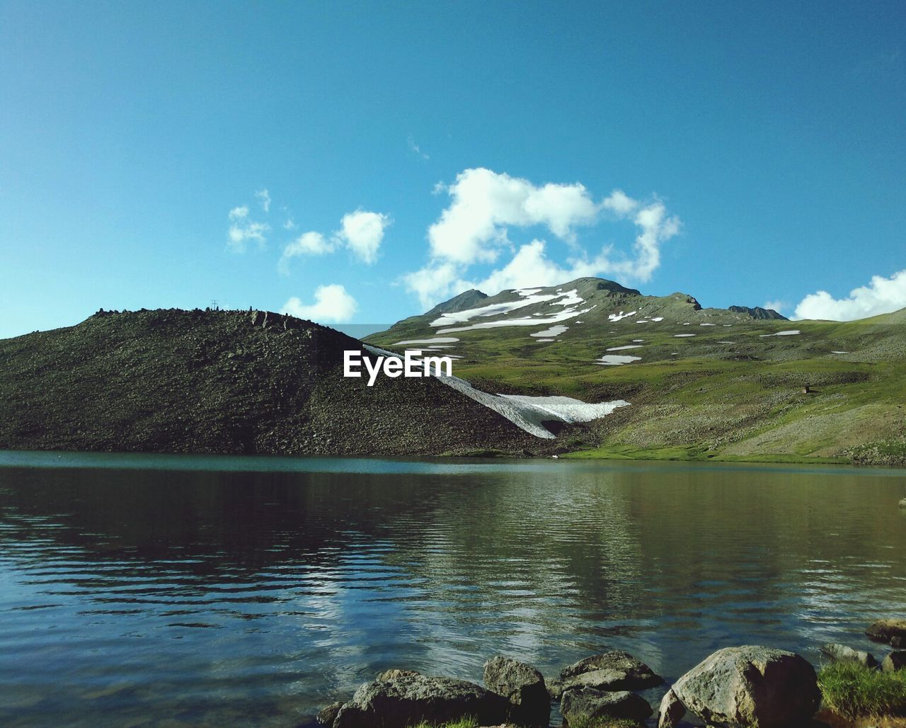 Scenic shot of calm countryside lake against mountains