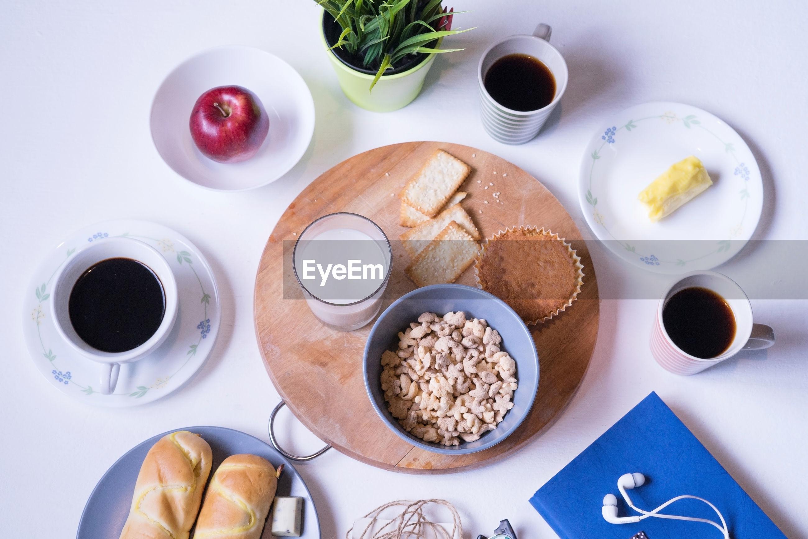 High angle view of fresh food on table