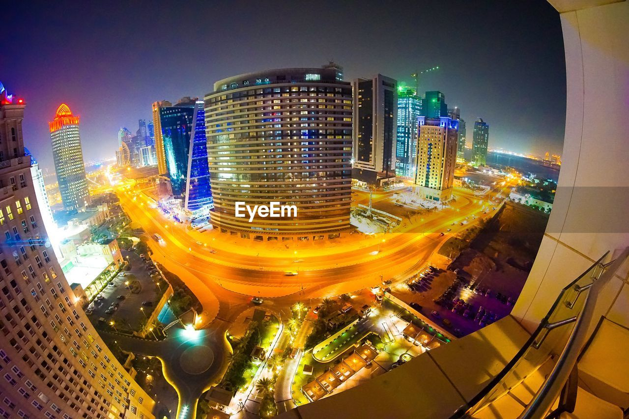architecture, illuminated, night, building exterior, skyscraper, cityscape, city, built structure, fish-eye lens, modern, no people, outdoors, panoramic, urban skyline, sky