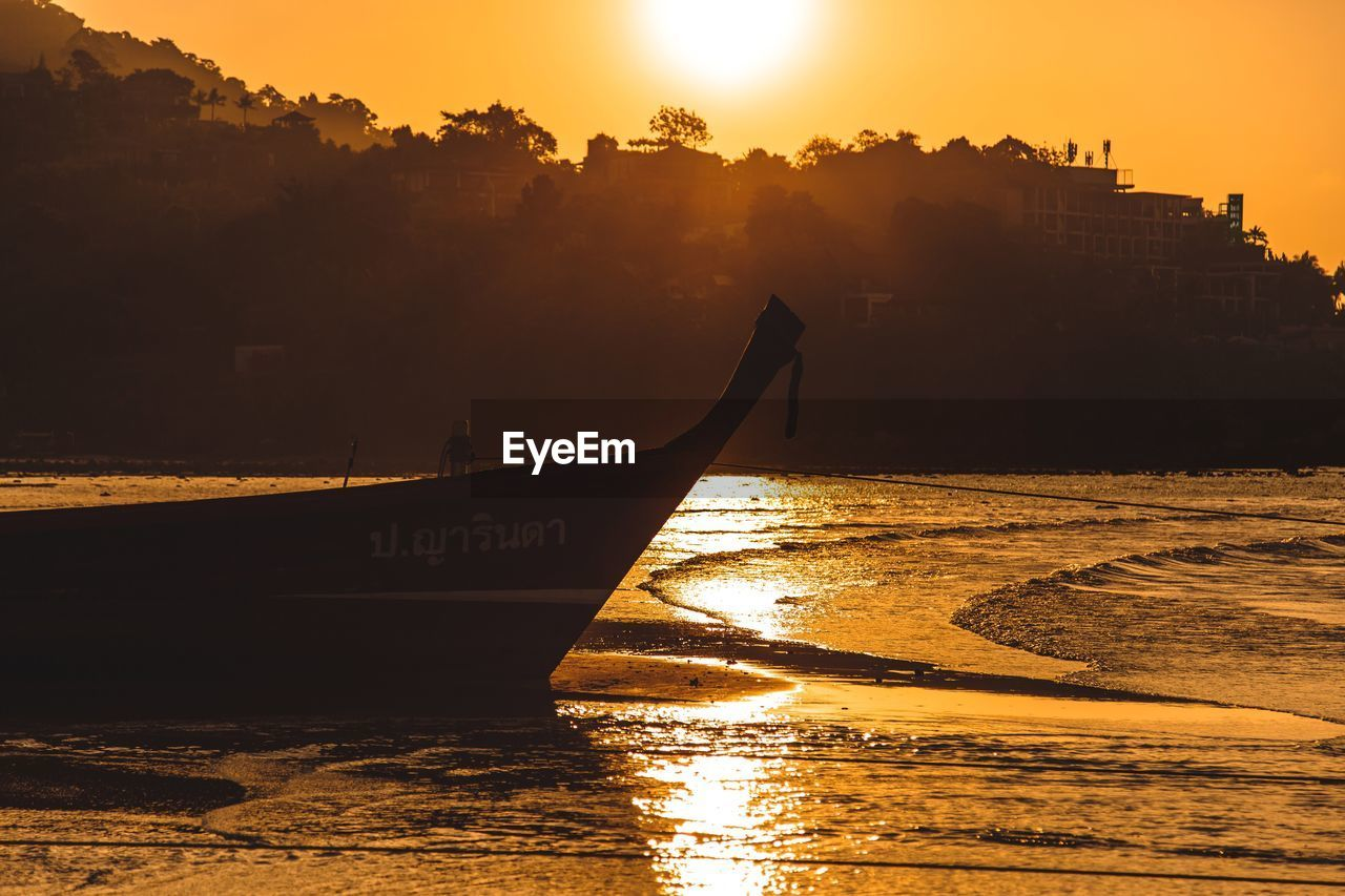 sunset, sky, transportation, water, sun, nautical vessel, orange color, silhouette, beauty in nature, mode of transportation, nature, scenics - nature, sunlight, built structure, architecture, no people, idyllic, reflection, tranquility, outdoors, bright