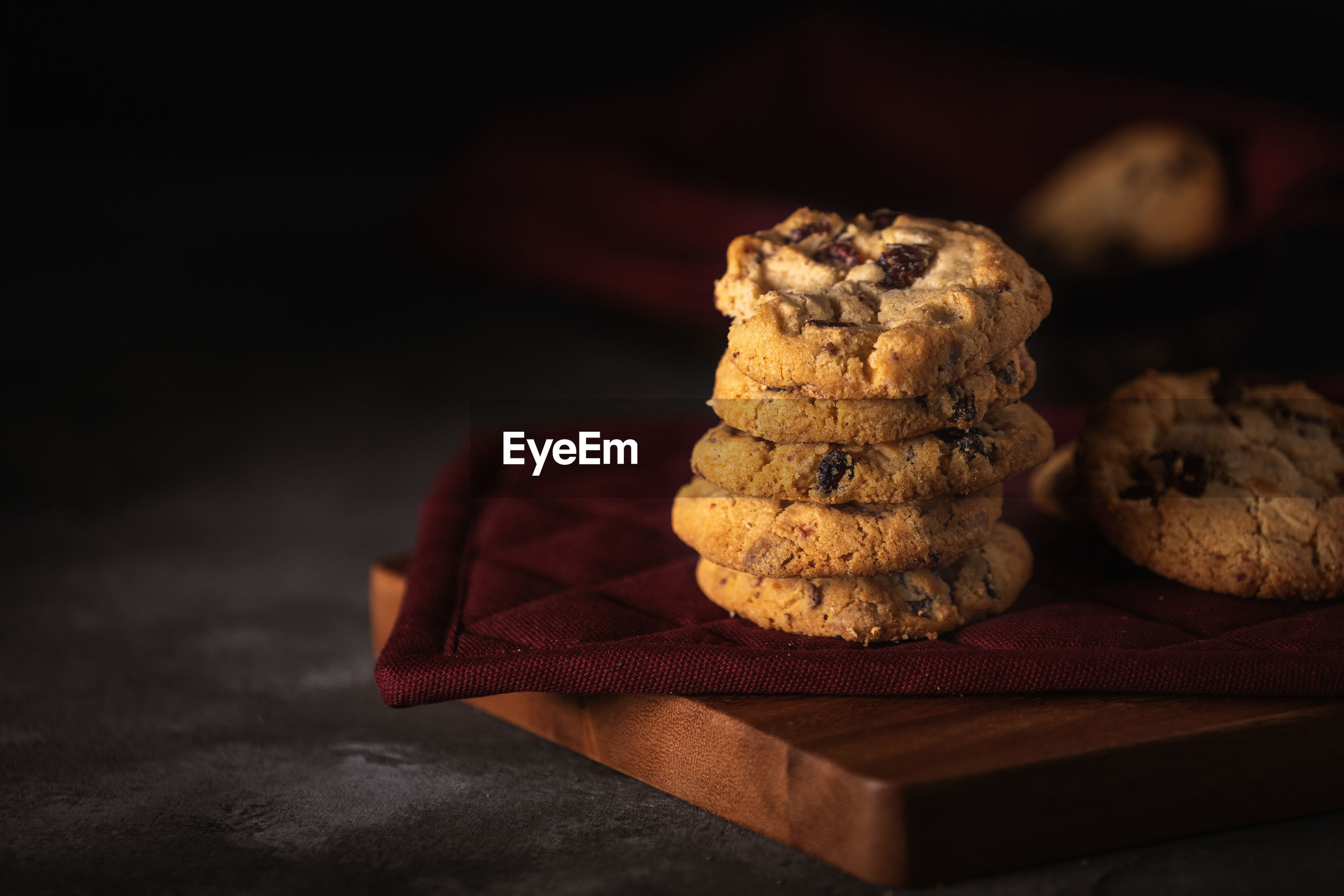 Close-up of stacked cookies on table