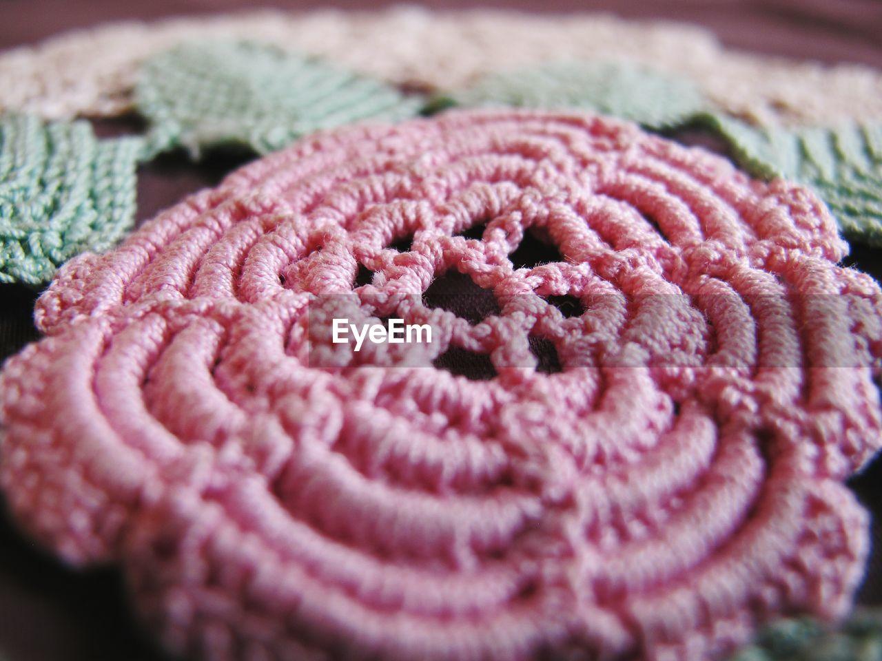 Close-up of crochet tablecloth