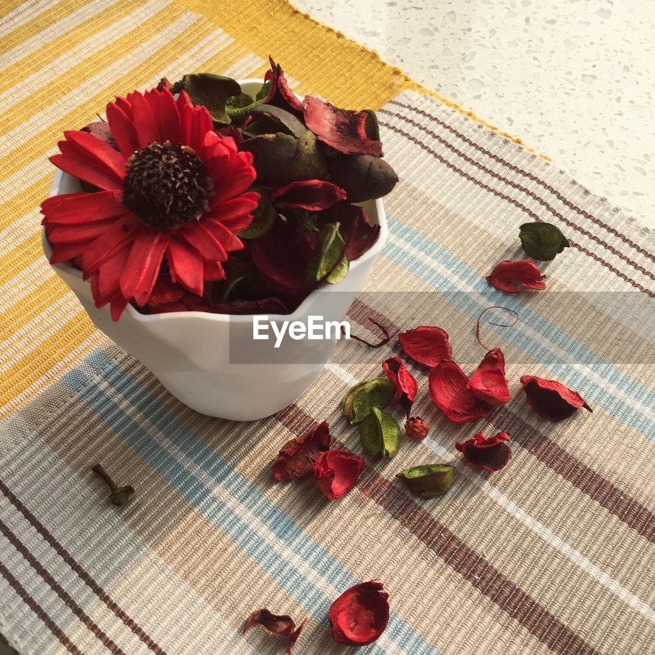 flower, flowering plant, plant, freshness, beauty in nature, petal, nature, table, food and drink, flower head, indoors, high angle view, red, no people, close-up, food, fragility, rose - flower, inflorescence, vulnerability, place mat, flower arrangement